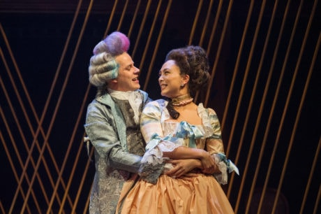 Mozart (Samuel Adams) lovingly teases his fiancee Constanze (Lilli Hokama) in 'Amadeus' at Folger Theatre. Photo by C. Stanley Photography.