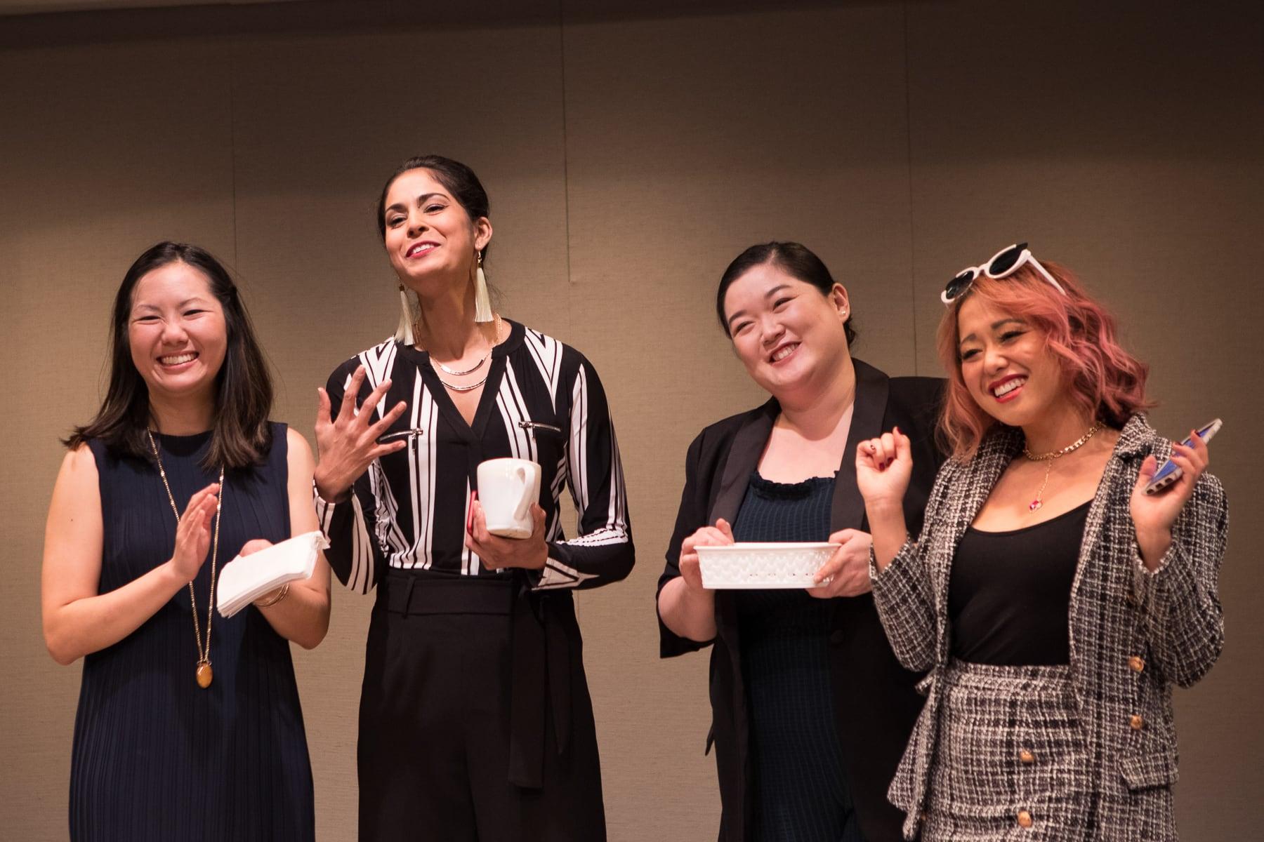 Jenna Zhu, Shanta Parasuraman, Narea Kang, and Diana Huey in 'White Pearl.' Photo by Teresa Wood.