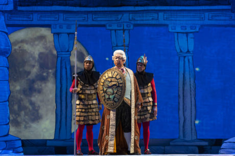 Wei Wu (center) as Sarastro, with Alexander McKissick as 1st Armed Man and Samuel J. Weiser as 2nd Armed Man in Washington National Opera's 'The Magic Flute' at The Kennedy Center. Photo by Scott Suchman.