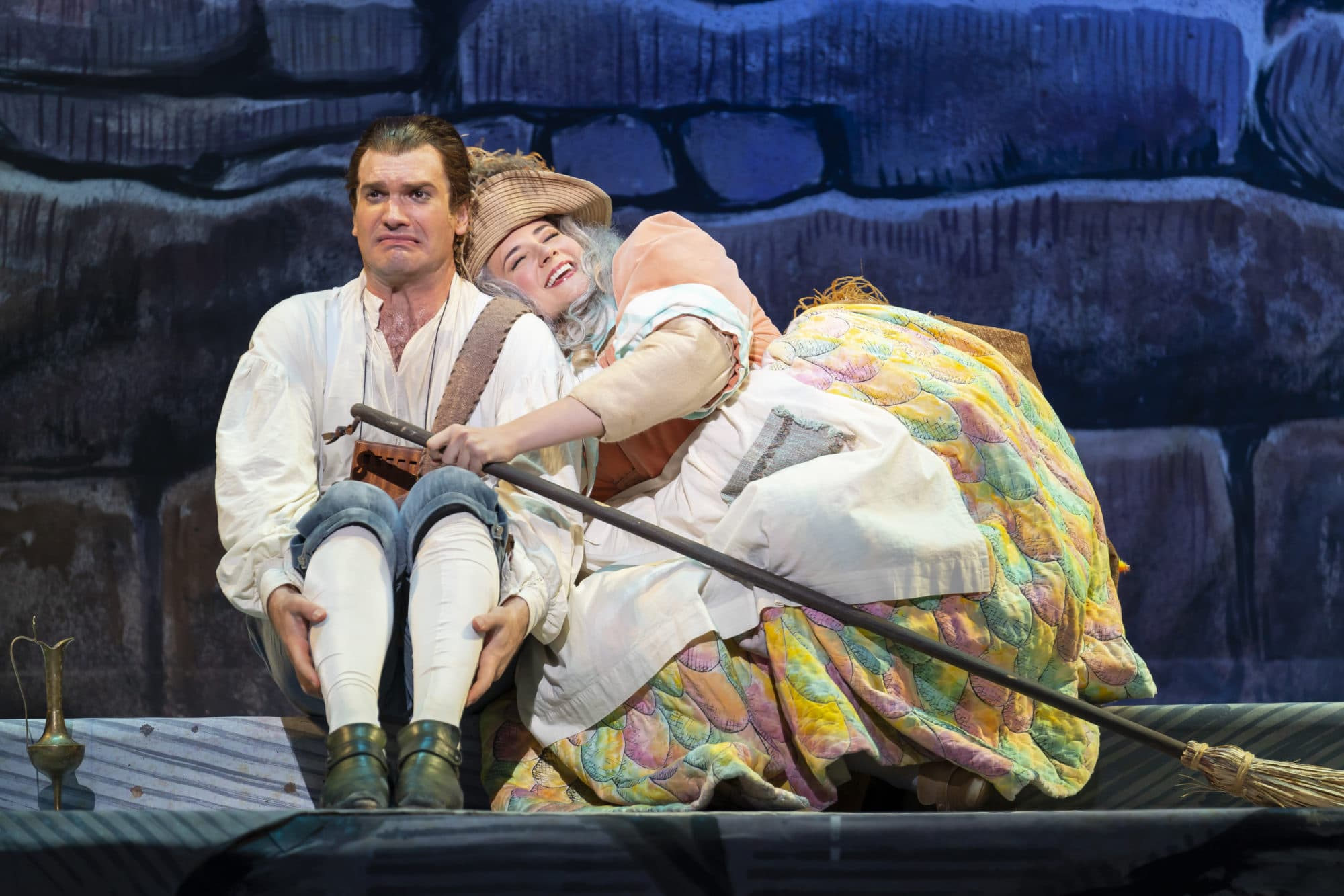 Michael Adams as Papageno and Alexandra Nowakowski as Papagena in Washington National Opera's 'The Magic Flute' at The Kennedy Center. Photo by Scott Suchman.