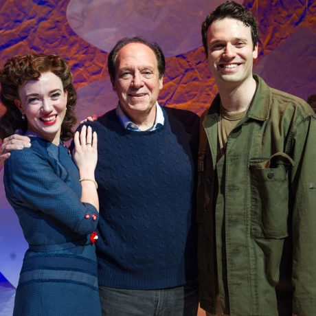 Amelia Pedlow (Louise Rabiner), Ken Ludwig (Playwright) and Jake Epstein (Jack Ludwig) in Ken Ludwig's 'Dear Jack, Dear Louise' at Arena Stage. Photo by C. Stanley Photography.