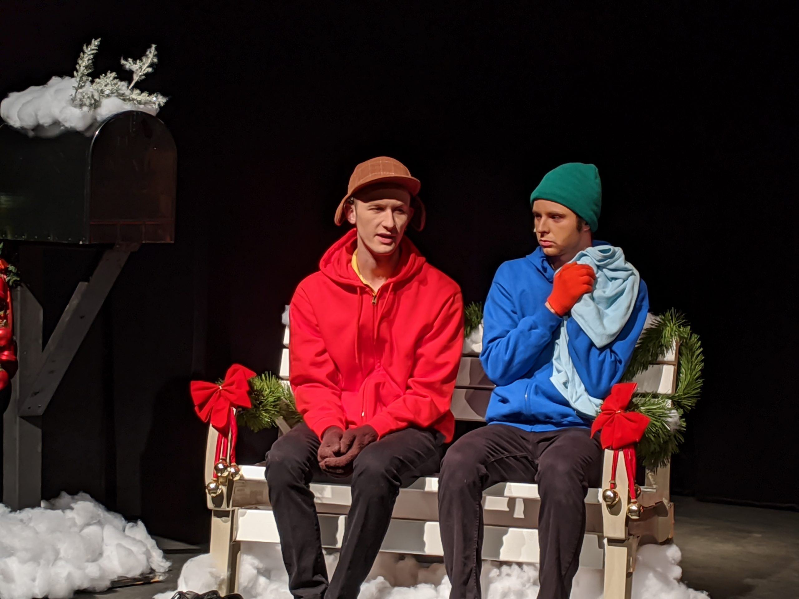 Nick MacFarlane as Charlie Brown and Trevor Nordike as Linus in Prince William Little Theatre's production of 'A Charlie Brown Christmas.' Photo by Melissa Jo York-Tilley.