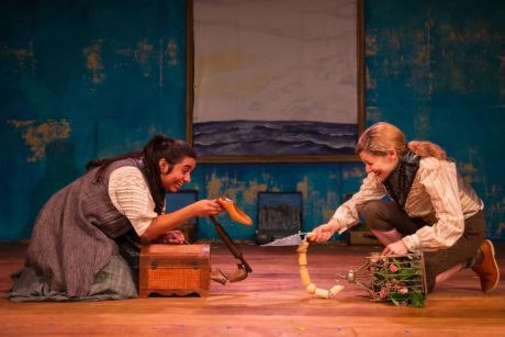 Jordana Hernandez (Finnoughla) and Emily Sucher (Conn) in 'The Infinite Tales' by 4615 Theatre Company. Photo by Ryan Maxwell Photography.