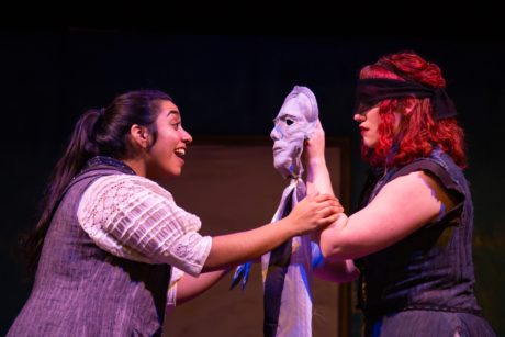 Jordana Hernandez (Finnoughla) and Amber Gibson (Aoife) in 'The Infinite Tales' by 4615 Theatre Company. Photo by Ryan Maxwell Photography.