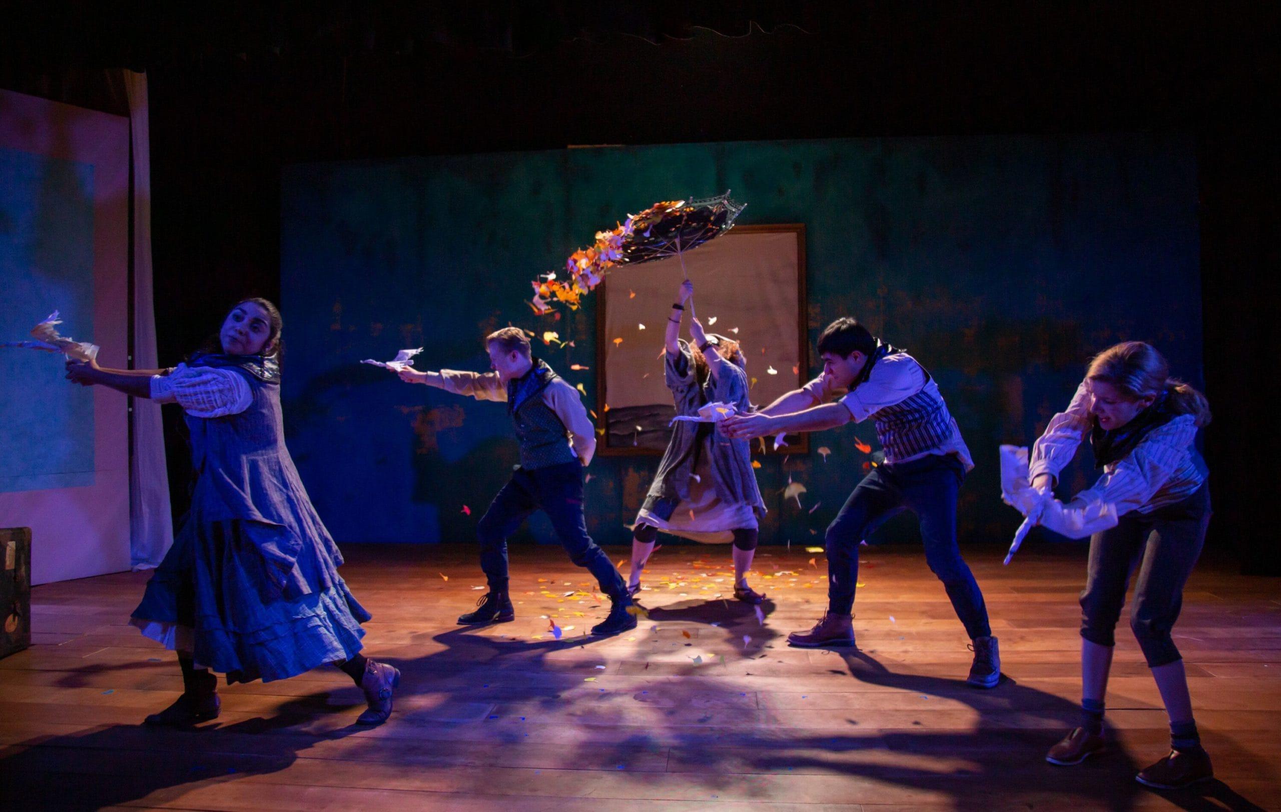 Jordana Hernandez (Finnoughla), Seth Rosenke (Fiachra), Melissa Carter (ensemble), Niusha Nawab (Aed) and Emily Sucher (Conn) in 'The Infinite Tales' by 4615 Theatre Company. Photo by Ryan Maxwell Photography.