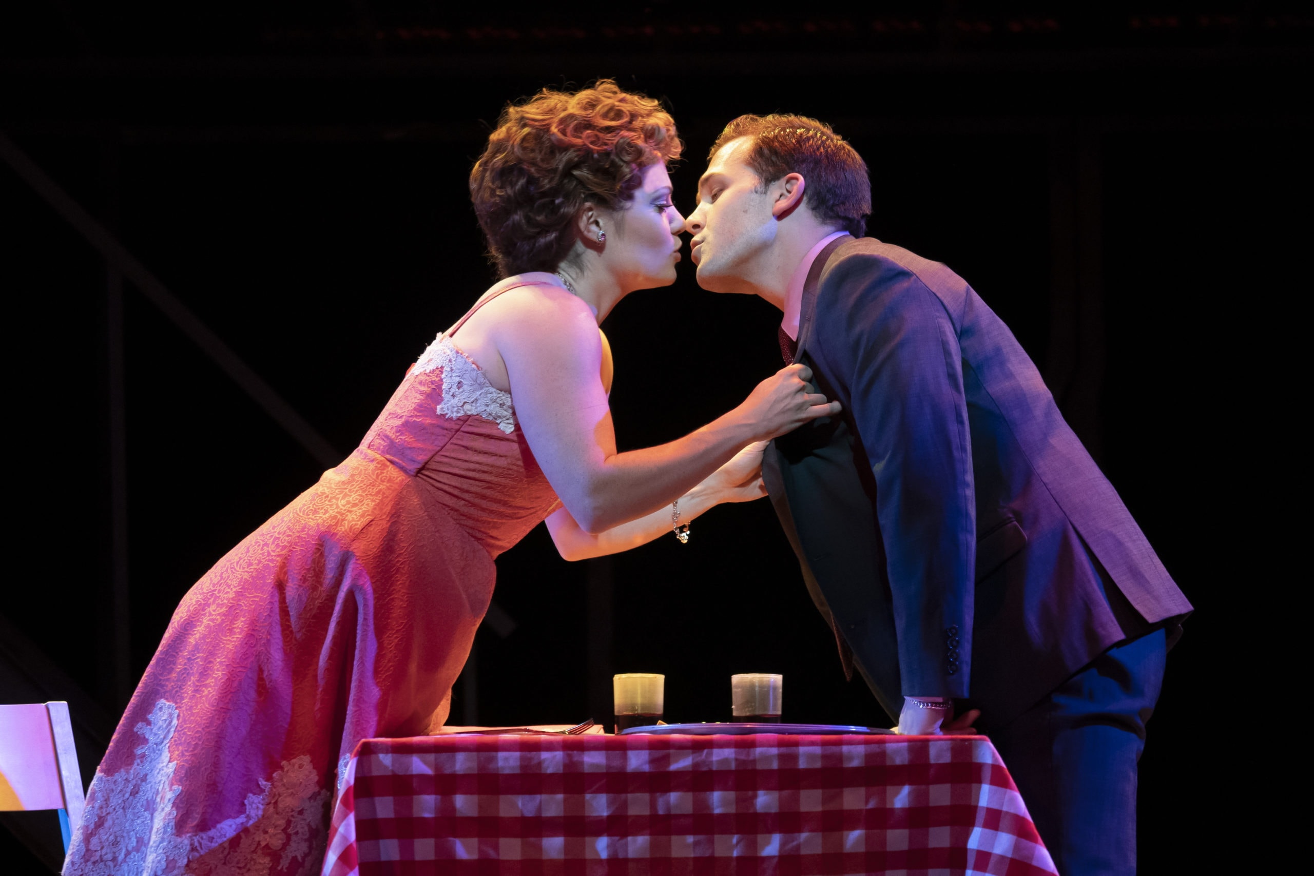 Ashley Bruce as Mary Delgado and Jon Hacker as Frankie Valli in 'Jersey Boys.' Photo by Joan Marcus.
