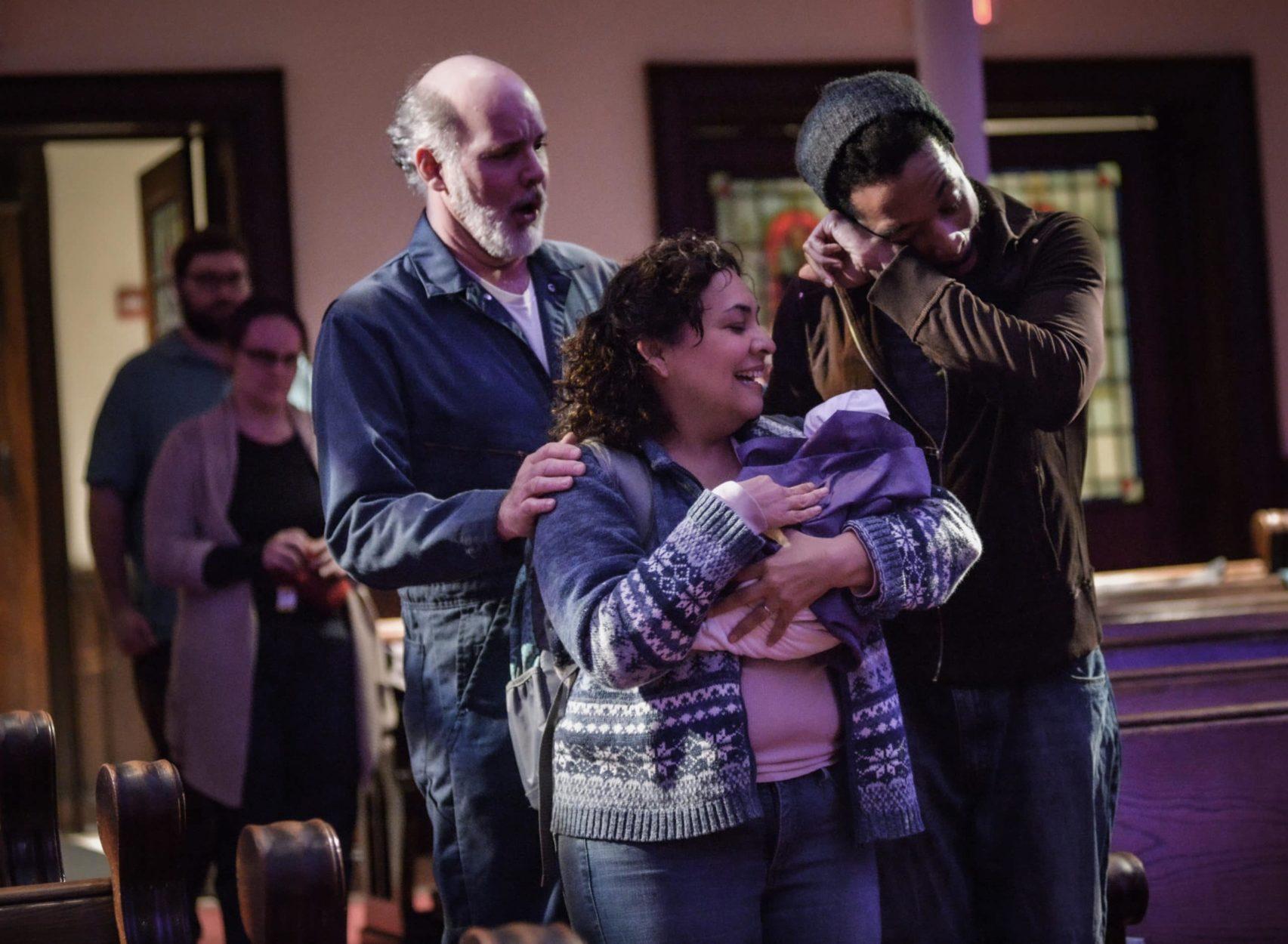 Kerry Wilkerson, Elizabeth Mondragon, and Jarrod Lee in 'L'enfance du Christ.' Photo by RX Loft.