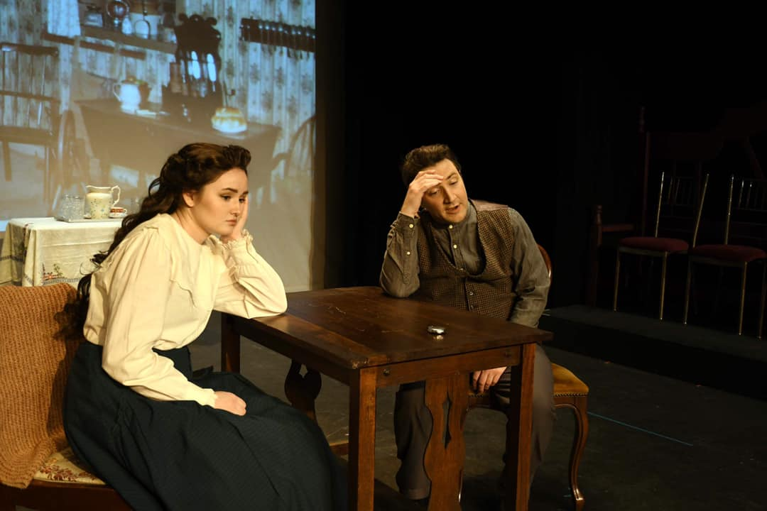 Jessica Singley as Della and Alex Marshall as Jim in 'The Gift of the Magi.' Photo courtesy of Providence Players of Fairfax.