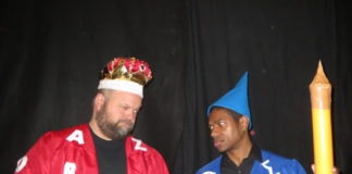 King Azaz of Dictionopolis (Dave Buckingham) and the Mathemagician (Wes Dennis) have a disagreement in 'The Phantom Tollbooth' at Greenbelt Arts Center. Photo by Anne Gardner.