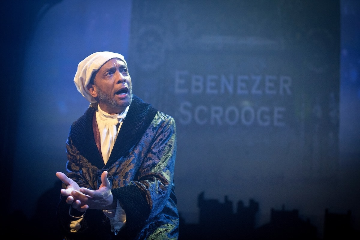 Dexter Hamlett as Ebenezer Scrooge in 'A Christmas Carol' at Annapolis Shakespeare Company. Photo by Joshua McKerrow.