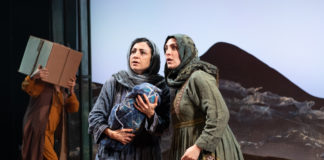 Hend Ayoub (Mariam) and Mirian Katrib (Laila) in 'A Thousand Splendid Suns' at Arena Stage. Photo by Margot Schulman.