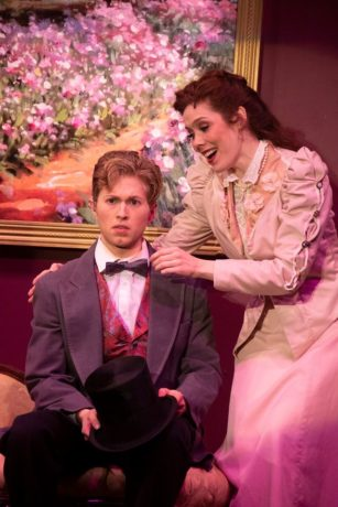 Drew Goins as Monty and Katie Weigl as Sibella Hallward in 'A Gentleman's Guide to Love and Murder' at The Little Theatre of Alexandria. Photo by Matt Liptak.