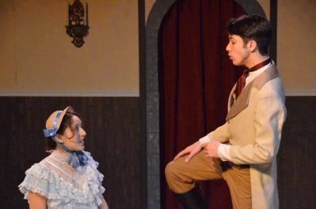 Liliane Valiere (Michaela Haber) and Nicholas Rondeau (Justin Diaz) discuss their future. Photo by Kris Northrup.