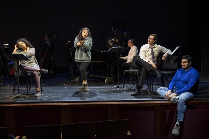 L-R: Amanda Lynn Bottoms, Marlen Nahhas, WIlliam Meinert, and Matthew Pierce in 'Admissions,' one of three 20-minute operas performed through WNO's American Opera Initiative. Photo by Scott Suchman.