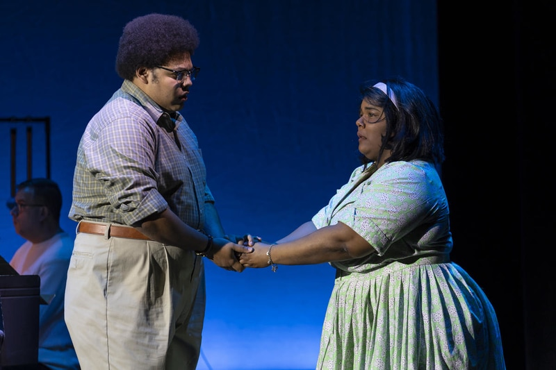 Joshua Blue and Rehanna Thelwell in 'Night Trip,' one of three 20-minute operas performed through WNO's American Opera Initiative. Photo by Scott Suchman.