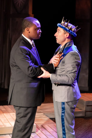 Duane Richards as Aumerle and Gary DuBreuil as Richard II in Brave Spirits Theatre's 'Richard the Second.' Photo by Claire Kimball.
