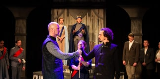 John Stange as Henry Bolingbroke, Ian Blackwell Rogers as Thomas Mowbray, and the cast of 'Richard the Second.' Photo by Claire Kimball.