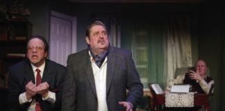 Thom Eric Sinn (David O. Selznick), Fred Nelson (Victor Fleming), and Gene Valendo (Ben Hecht) in 'Moonlight and Magnolias' at Laurel Mill Playhouse. Photo by John Cholod.