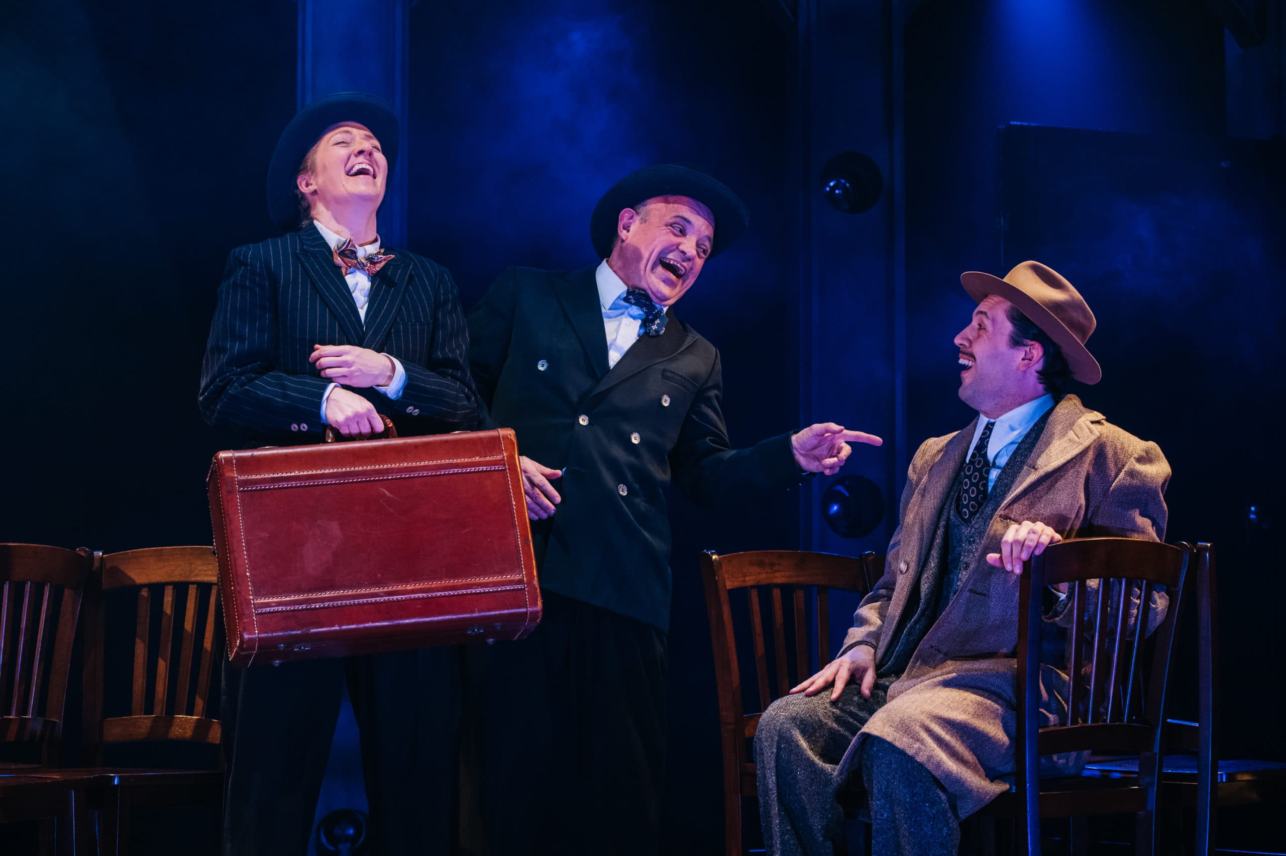 Gwen Grastorf, Christopher Walker, and Drew Kopas in 'The 39 Steps' at Constellation Theatre. Photo by Cameron Whitman Photography.