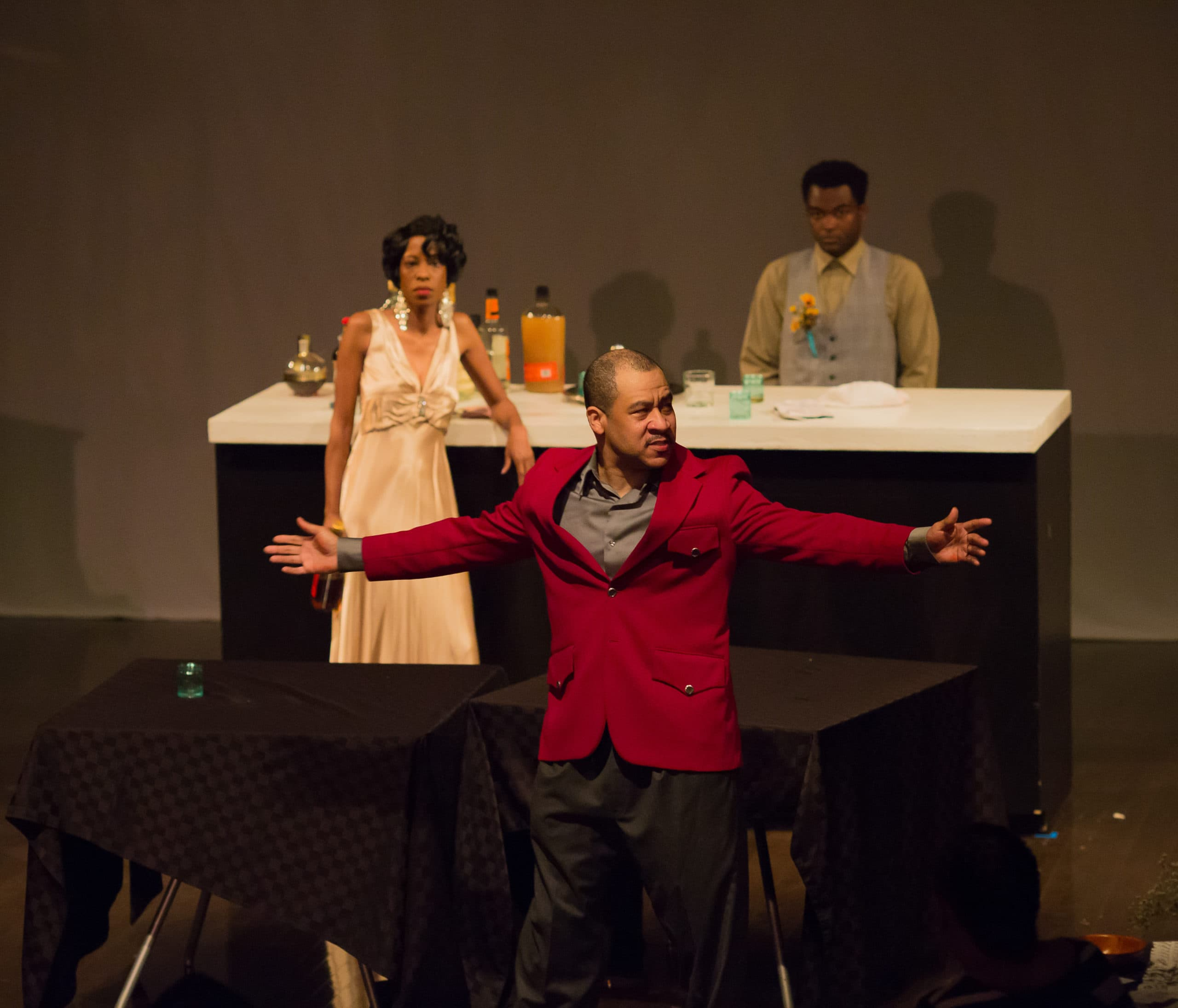 Eli El (foreground) as Sterling in 'Welcome to Sis's' by Ally Theatre Company. Photo by Angelisa Gillyard.