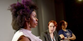 Pauline Lamb, Carolyn Kashner, and Boneza Valdez Hanchock in 'Weep' by Nu Sass Productions. Photo courtesy of Aubri O'Connor.