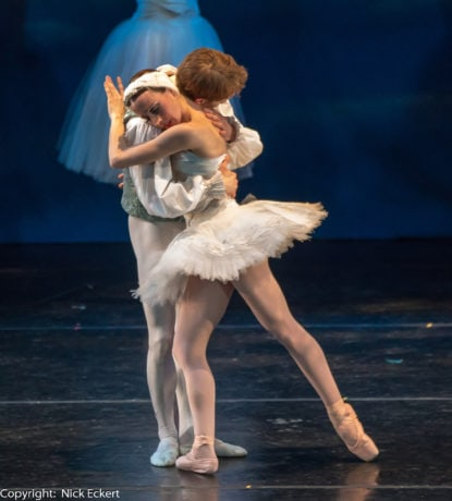 Nicole Kelsch as Odette and Alexander Collen as Prince Siegfried in Ballet Theatre of Maryland's 'Swan Lake.' Photo by Nick Eckert.
