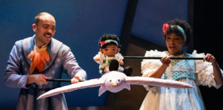 Jonathan Atkinson as Swallow and Unissa Cruse as Thumbelina in 'Thumbelina' at Imagination Stage. Photo by Margot Schulman.