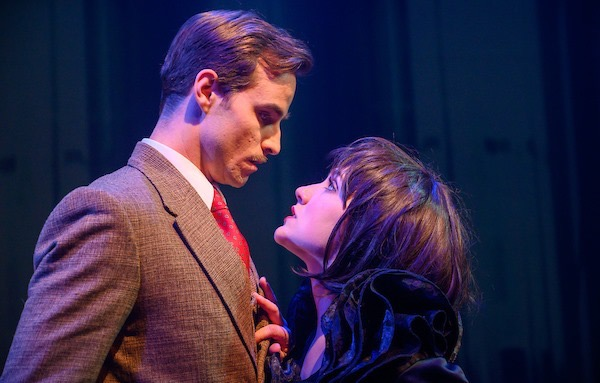 Brock D. Vickers and Sarah Stewart Chapin in 'The 39 Steps' at Annapolis Shakespeare Company. Photo by Joshua McKerrow.