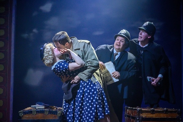 L-R: Sarah Stewart Chapin, Brock D. Vickers, Justino Brokaw, and Andy McCain in 'The 39 Steps' at Annapolis Shakespeare Company. Photo by Joshua McKerrow.