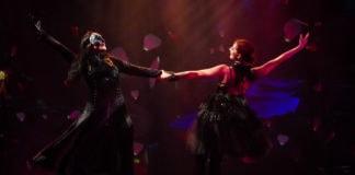 Irina Tsikurishvili as Phantom and Maryam Najafzada as Christine in 'Phantom of the Opera' at Synetic Theater. Photo by Johnny Shryock.