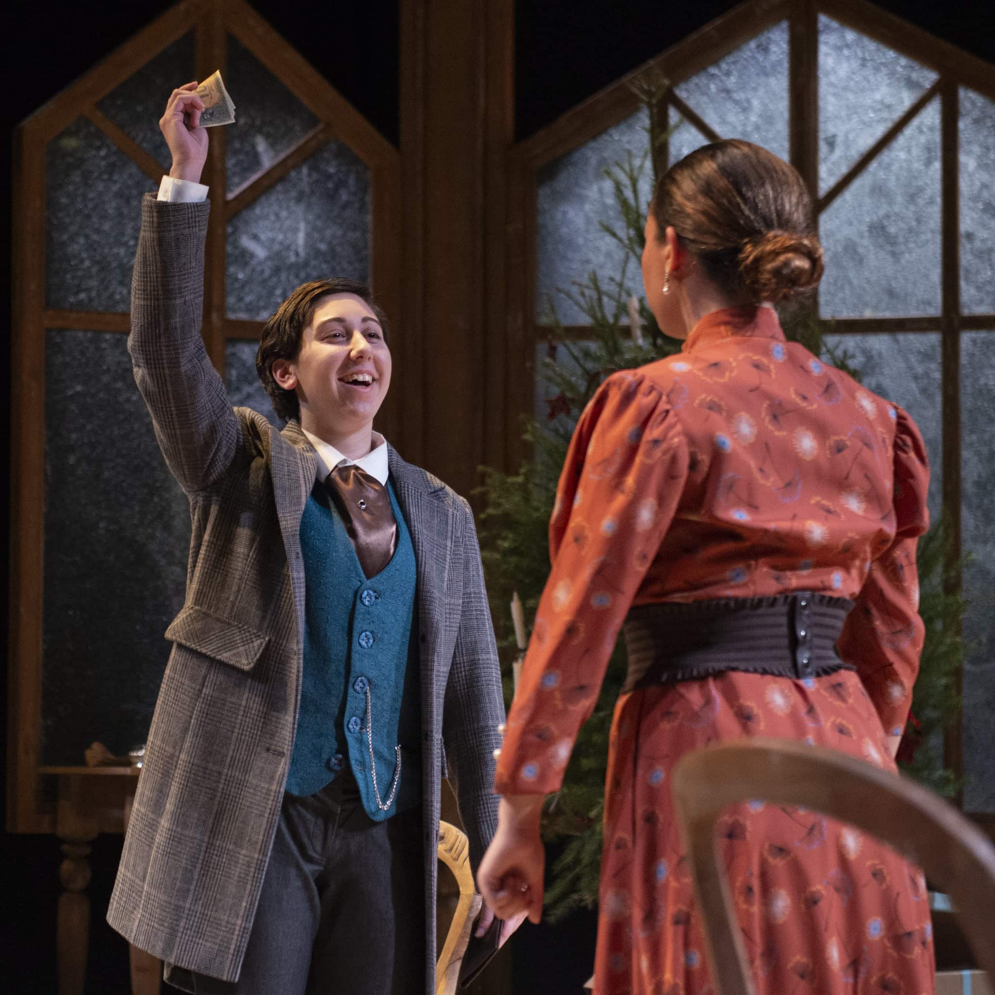 Beth Rendely as Torvald and Des'ree Brown as Nora in 'A Doll House' at the University of Maryland School of Theatre, Dance, and Performance Studies at the Clarice Smith Performing Arts Center. Photo by David Andrews.