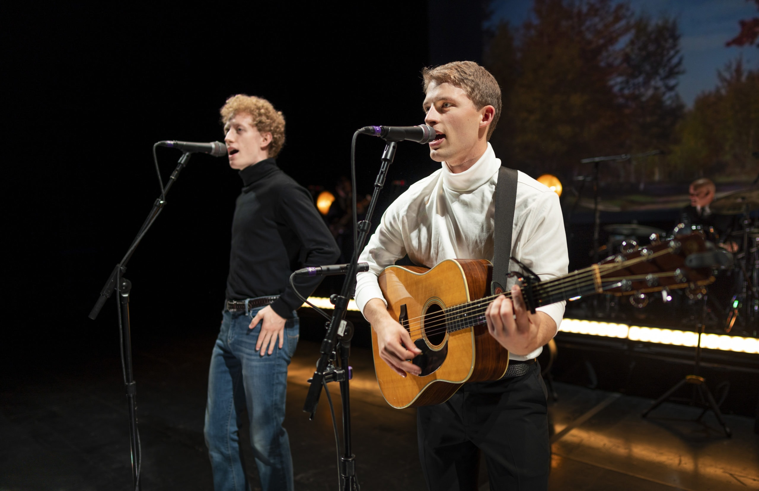 Ben Cooley as Art Garfunkel and Taylor Bloom as Paul Simon in 'The Simon and Garfunkel Story.' Photo by Lane Peters.