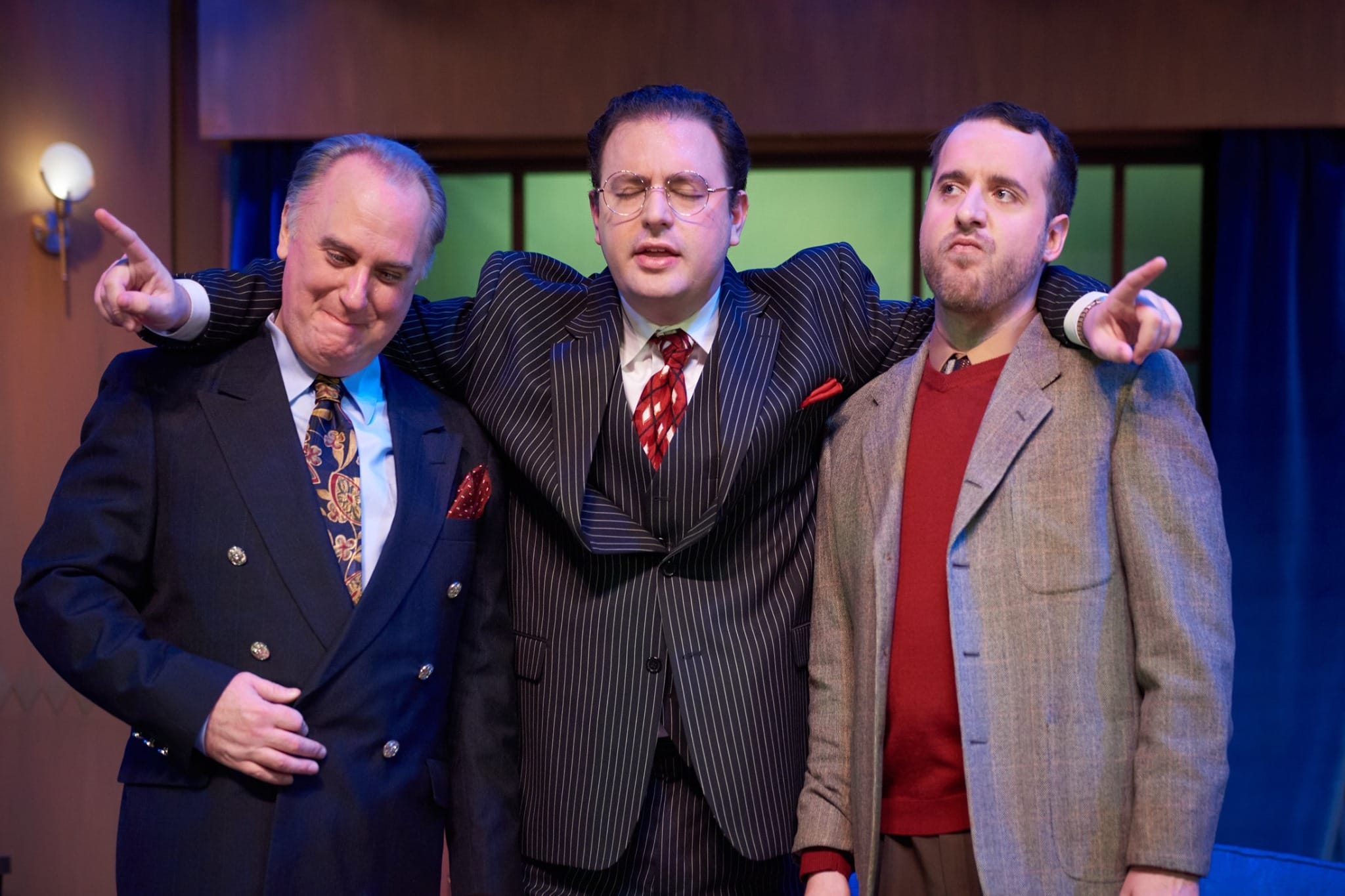 Michael J. Fisher (Victor Fleming), Griffin Voltmann (David O. Selznick), and J.T. Spivy (Ben Hecht) in 'Moonlight and Magnolias' at The Little Theatre of Alexandria. Photo by Brian Knapp.